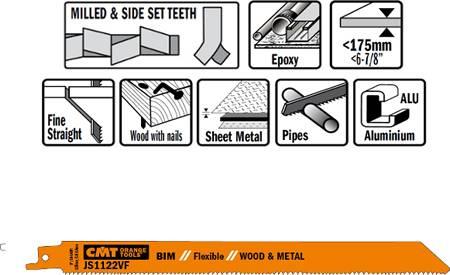 Hojas sierra sables bimetalicas, corte de madera con clavos hasta 175 mm de espesor, chapas de metal y aluminio desde 3 a 10 mm