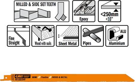 Hojas de sierras para sables bimetalicas extralargas cortes en madera hasta 250 mm y en chapas de metal desde 3 a 10