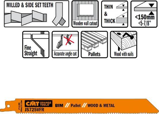 Hojas de sierra bimetalicas para sables idoneas para reparaciones de palets