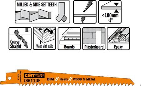 Hojas de sierra sables corte por penetracion para madera, metal, plasticos