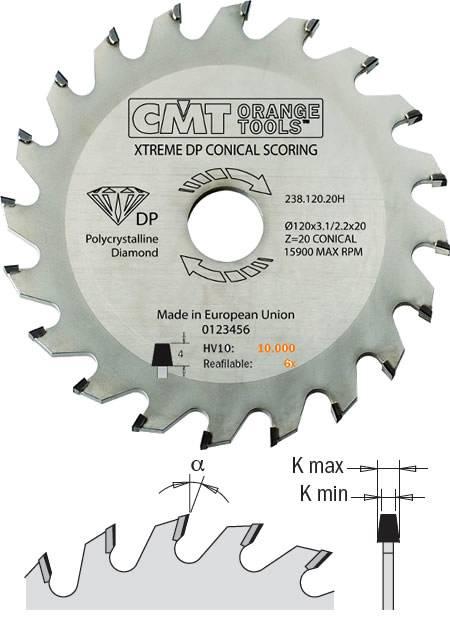 Sierra circular incisor de diamante para derivados de madera a trabajar en escuadradoras