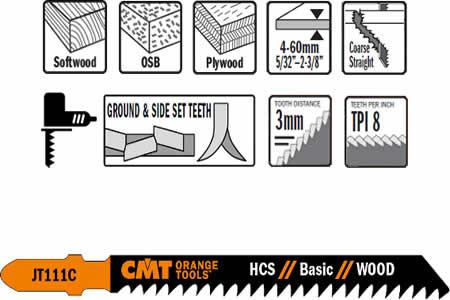 Hojas de sierra de calar para maderas de espesor entre 4 a 60 mm, calidad acero al carbono