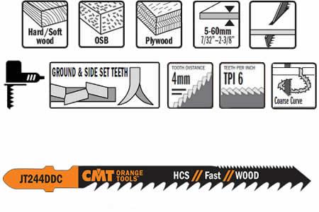 Hojas de sierra de doble dentado para todo tipo de maderas, para cortes de entre 5 y 60 mm de espesor