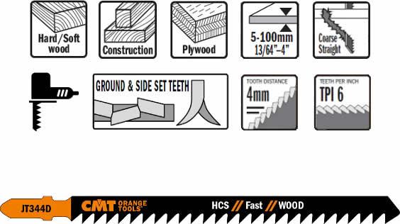 Blister de 5 hojas de sierra para calar sobre maderas desde 5 a 100 mm de espesor