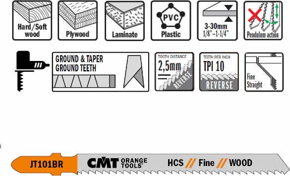 Hojas de sierra para caladora manual con diente invertido para madera y plastico