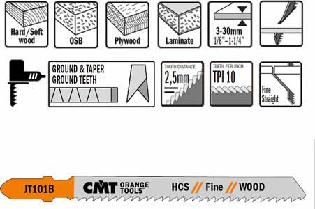 Hojas de sierra para madera y plastico, espesores dese 3 a 30 mm, 10 TPI