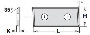 Cuchillas de widia reversibles de 4 cortes inclinados, para portacuchillas cnc