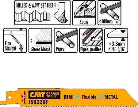 Hoja de sierra bimetal para sable, cortes en chapas desde 3 a 8 mm y tubos hasta 100 mm max de diametro