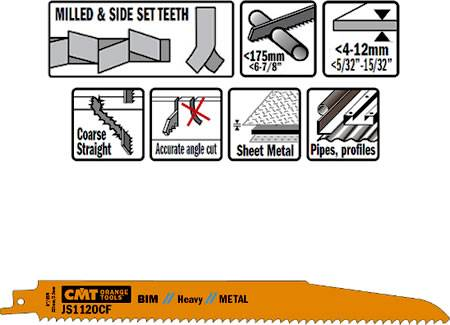 Hojas para sierra sable para cortes de perfiles metaicos hasta 175 mm y chapas gruesas desde 4 a 12 mm