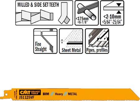 Hojas de sierra para sables corte de metal para demolicion, perfiles hasta Ø175 mm