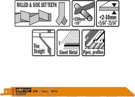 Hojas de sierra para maquinas de sable, cortes de chapas de metal desde 2 a 10 mm y perfiles hasta 250 mm