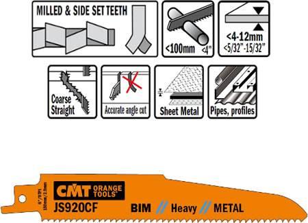 Hojas sable bimetal para cortes gruesos, trabajos con cortes bastos pero potentes sobre metales de hasta 100 mm