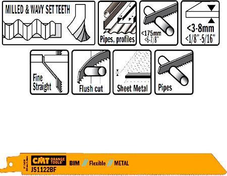 Hoja sierra sable para metal, cortes enrasados y flexibles