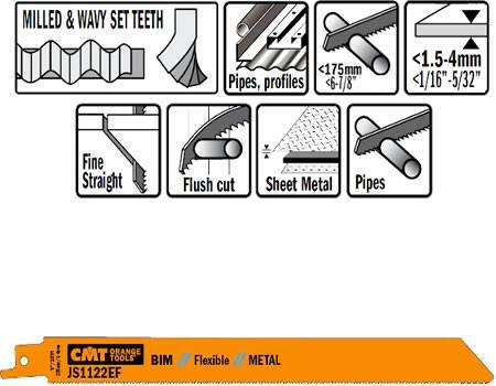 Hoja de sierra sable bimetal 8%, para tubos con diametro maximo de 175 y cortes en chapas metalicas desde 1,5 a 4 mm