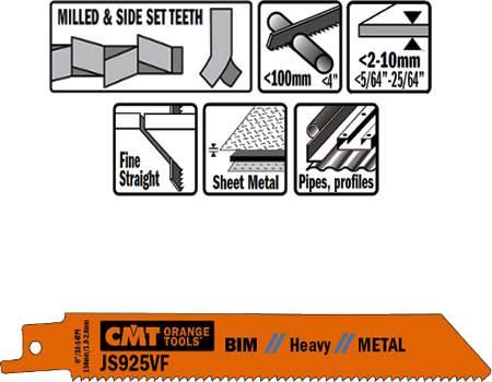 Hojas de sierra para sables, corte de chapas de metal finas y semigruesas de 2 a 10 mm
