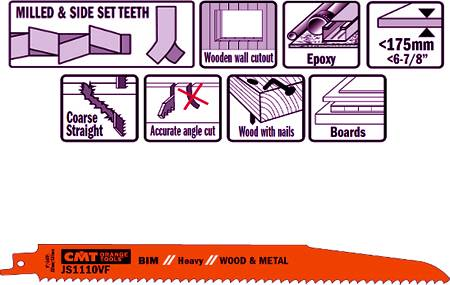 Hojas de sierra para sables bimetalicas para madera y metal y especialmente en trabajos de derribo