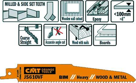Hojas de sierras para sables bimetalicas serie corta, cortes hasta 100 mm de espesor