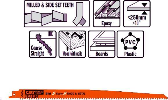 Hojas de sierras sables bimetalicas extralarga, cortes hasta 250 mm de espesor