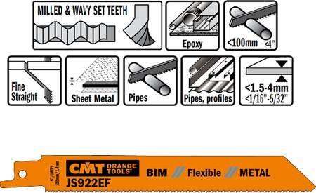 Hojas sierras sables flexibles para cortes enrasados para metal