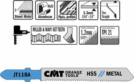 Hojas de sierra para caladora fabricadas en acero HSS, ideales para cortes rectos sobre metales de poco espesor.