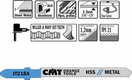 Hojas de sierra HSS para metales, cortes sobre materiales de espesor entre 1 a 3 mm