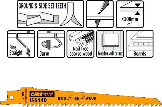 Hojas de sierra maquinas sables para maderas de construccion sin clavos, mdf, aglomerados, recortes en paredes de madera hasta 100 mm