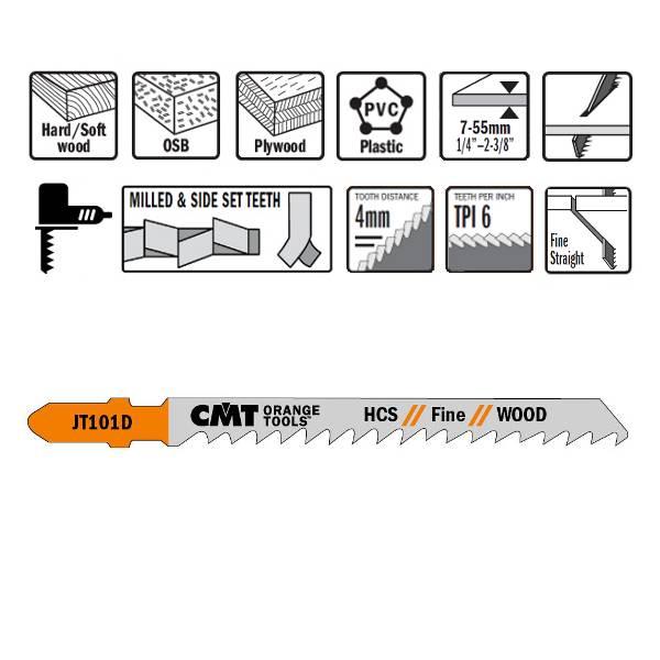 Hojas de sierra para calar idoneas para cortes rectos, esta sierra realiza cortes en maderas y plasticos de 7 a 55 mm de espesor