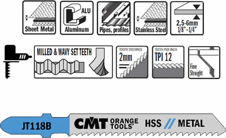 Hojas de sierra para metal,aluminio y plasticos. Para espesores desde 2,5 a 6 mm, paso de diente 2 mm
