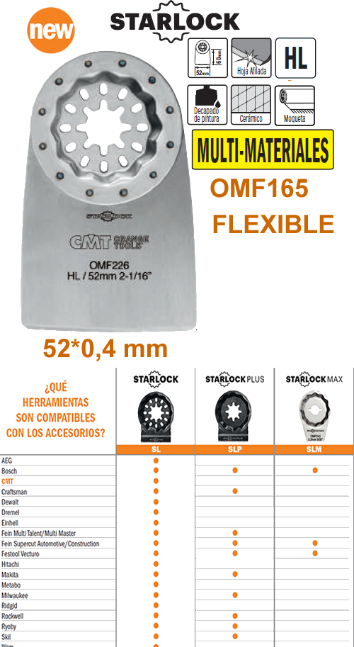 Cuchilla para cortar y rascar fabricada en acero flexible en maquina multifuncional oscilante
