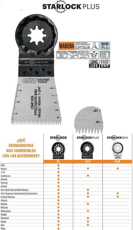 Hoja de sierra para madera y plasticos blandos, bimetalicas ancho de 45 mm, forma de diente japones, 14 dientes por pulgada