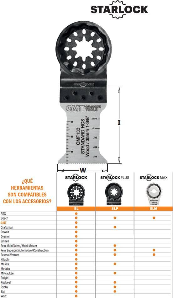 Hoja sierra herramienta multifuncional de 35 mm para maderas y plasticos blandos, profundidades hasta 50 mm. Calidad HCS