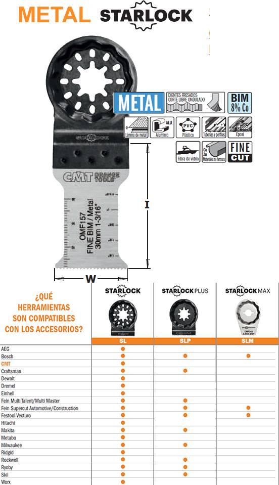 Hoja de sierra para metal en multiherramienta oscilante, ancho de corte 30 mm y hasta 50 mm de profundidad