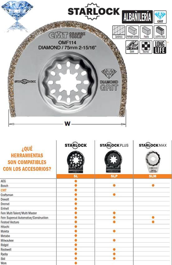 Hoja de sierra con recubrimiento de polvo de diamante para trabajos de albañileria, extra larga duracion y ancho de 75 mm