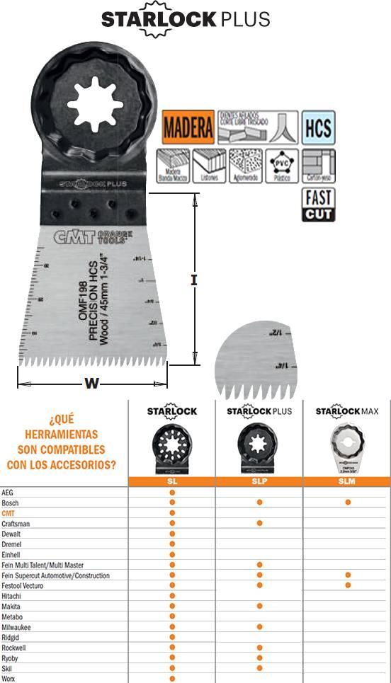 Hoja de sierra para madera y plasticos a utilizar en maquinas multiherramientas, ancho de corte 45 mm
