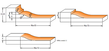 Juego de cuchillas madera para la fabricacion de plafones