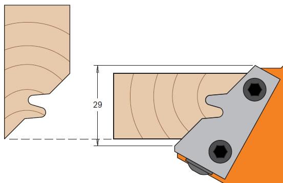 Cuchillas para madera y tablero MDF que realiza una union a 45º para trabajar en tupi