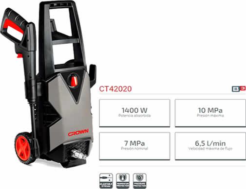 Hidrolimpiadora Crown CT42020 potencia 1400 W, PESO 5,3 kg
