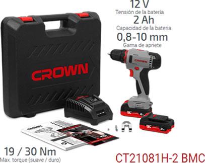 Taladro atornillador a bateria de 12V con 2 baterias de litio Samsung SDI, marca Crown modelo CT21081H-2BMC