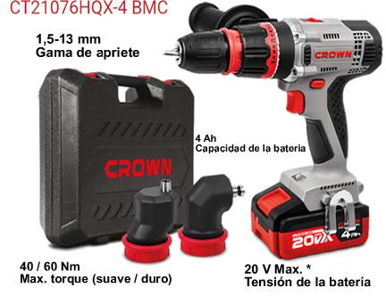 Taladro atornillador multicabezal sin cables marca Crown modelo:CT21076HQX-4BMC