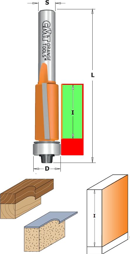 Fresas para madera de recortar con rodamiento copiador para maquinas electro fresadoras, cortes axiales