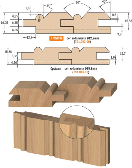 Fresas para madera paneles frisos Tecnocorte