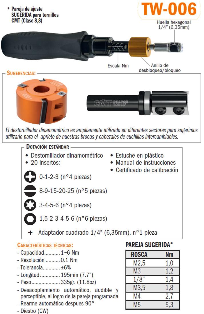 Juego destornillador dinamométrico ajustable tw006
