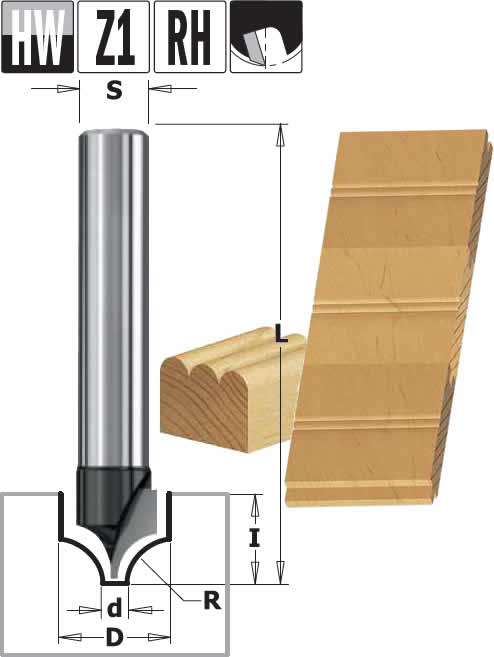 Fresa para perfilar y-decorar madera, para utilizar en fresadoras manuales y pantografos