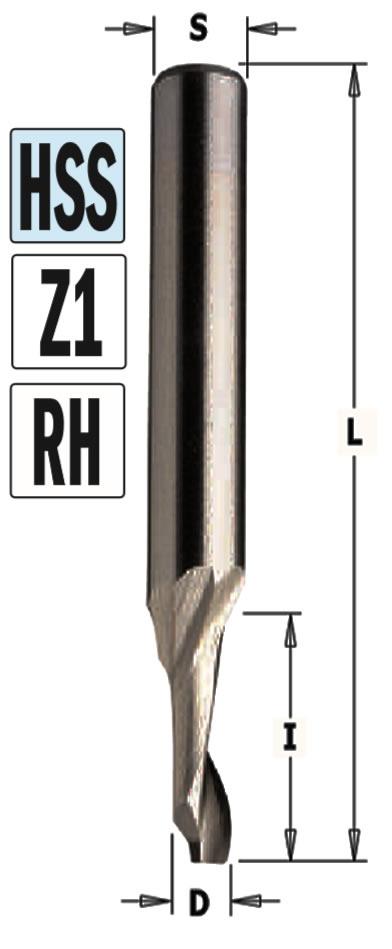 Fresa helicoidal Z1 Aluminio y PVC
