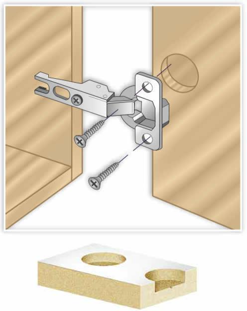 Brocas para la colocacion de las medidas mas habituales de bisagras para puertas de cocina, armarios o muebles.