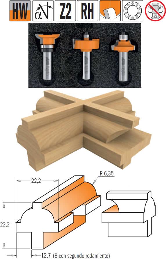 Conjunto 3 fresas para puertas madera estilo ingles de la marcacmt