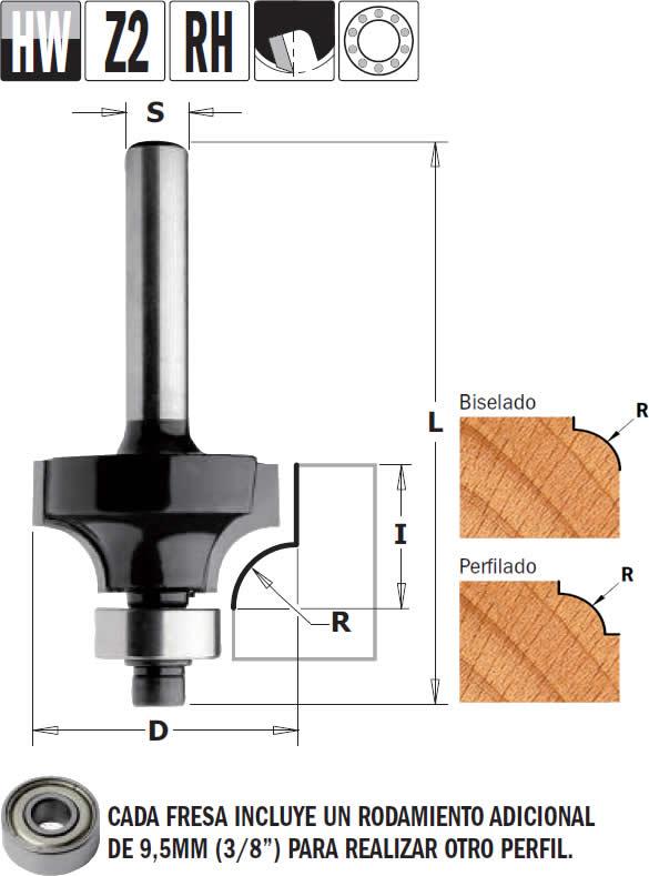 Fresa madera radio convexo con rodamiento para fresadoras