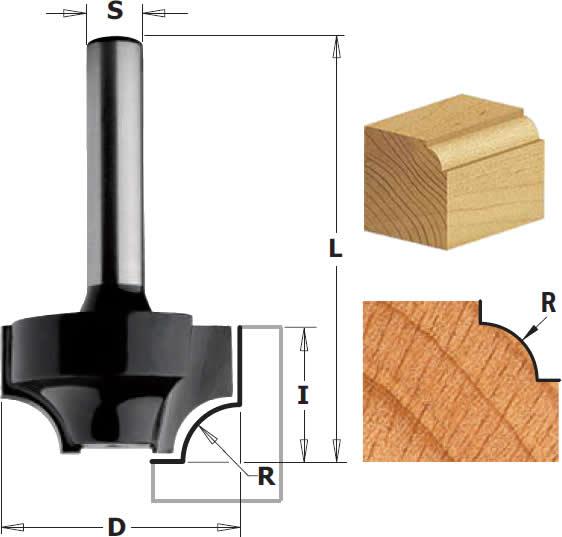 Fresa para madera radio convexo sin rodamiento
