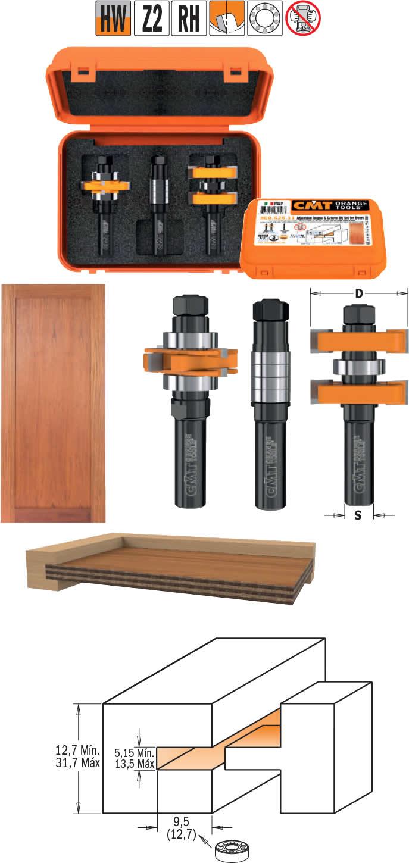 Fresas extensibles para madera que realiza encastres con union recta, para trabajar en fresadoras con mesa de trabajo
