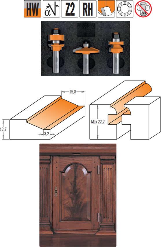 Juego de 3 fresas para realizar puertas de cocina con estilo rustico, aptas para fresadoras manuales